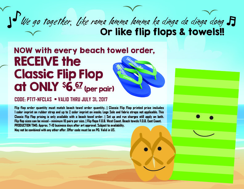 Classic Flip Flop with Beach Towel Special